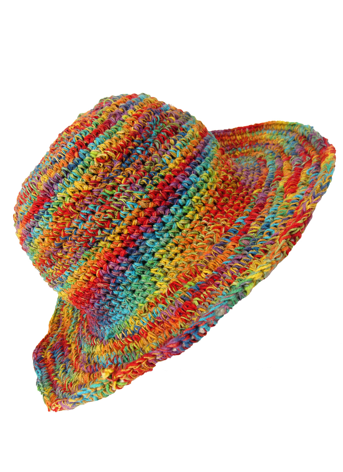 Hemp wire brim rainbow hat