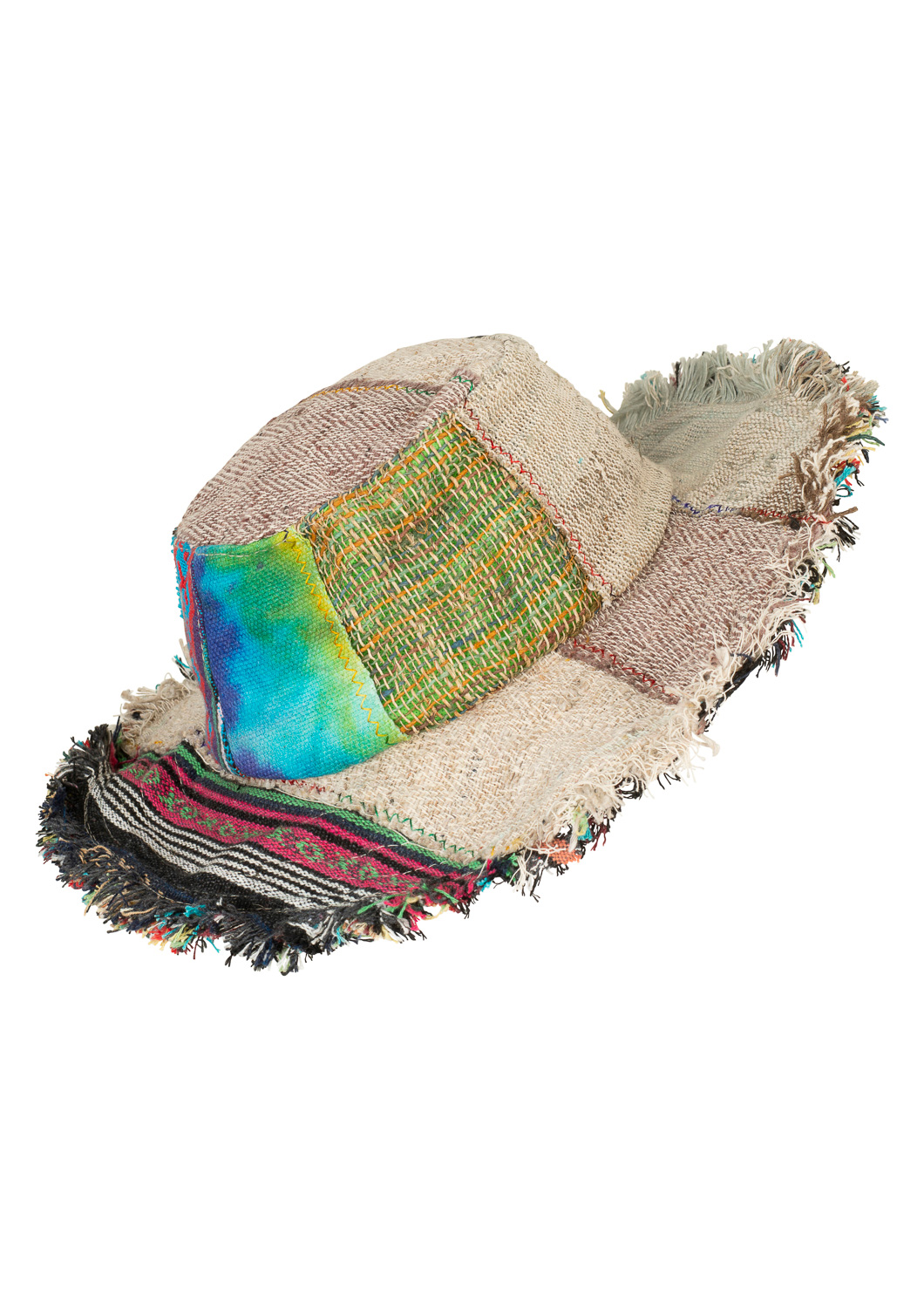 Hemp wire brim patchwork hat