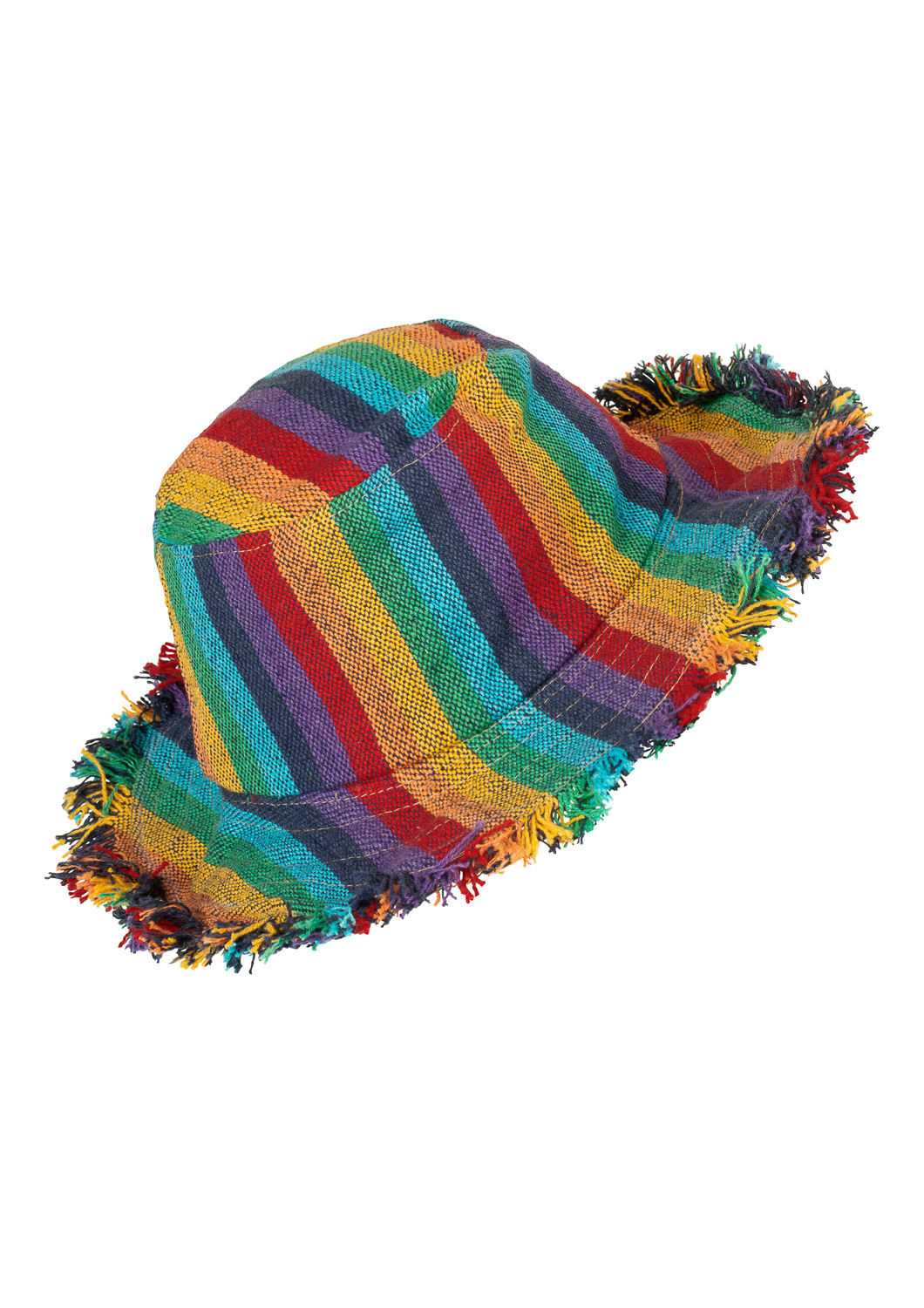 Stripy rainbow wire brim hat