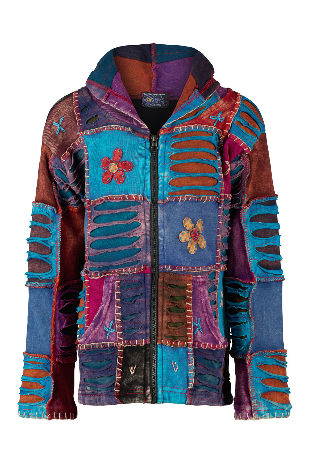 Children patchwork hooded jacket