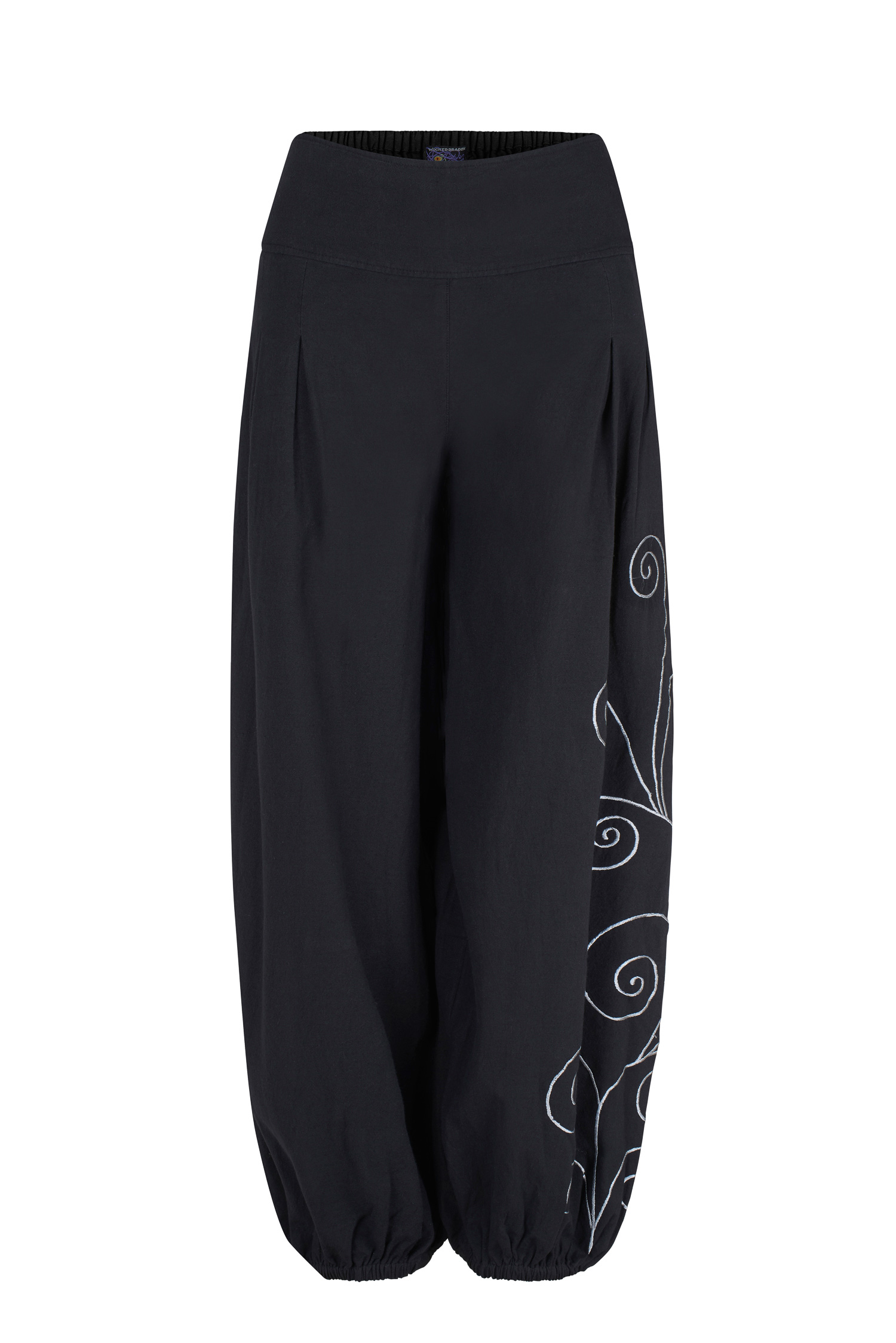 Long trousers with swirly embroidery