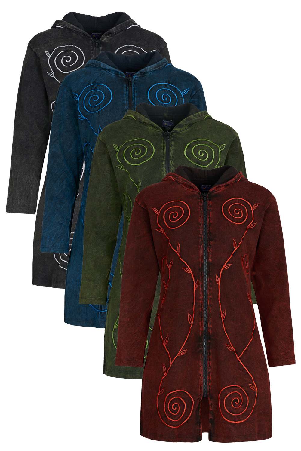 Long pixie hooded jacket with spiral embroidery