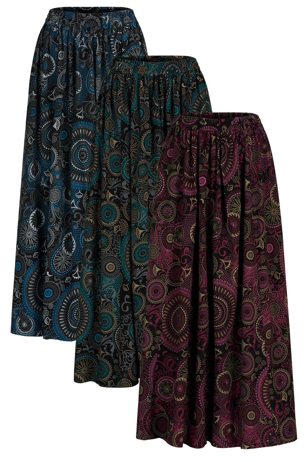 Mandala extra long full skirt with pockets