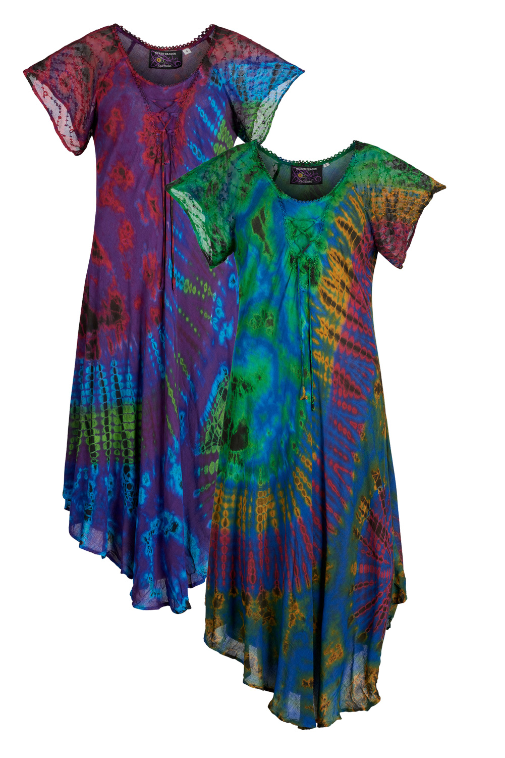 Tie dye long umbrella dress with sleeves